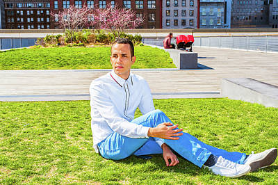 Photograph - American Man Relaxing On Green Lawn In New York by Alexander Image