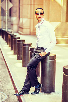 Photograph - American Man Street Fashion In New York. by Alexander Image
