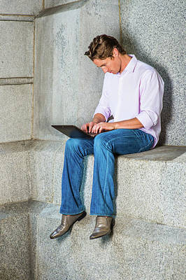 Photograph - American Man Working On Laptop Computer Outside by Alexander Image