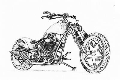 Digital Art - American Old Style Motorcycle by PixBreak Art