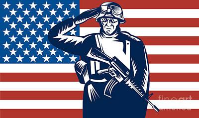 American Soldier Saluting Flag Art Print by Aloysius Patrimonio