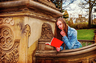 Photograph - American Teenage Girl Reading Book Outside On Campus In New York by Alexander Image