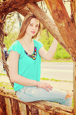 Photograph - American Teenage Girl Relaxing At Central Park In New York In Sp by Alexander Image