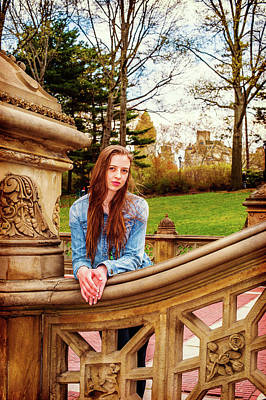 Photograph - American Teenage Girl Traveling At Central Park In New York by Alexander Image
