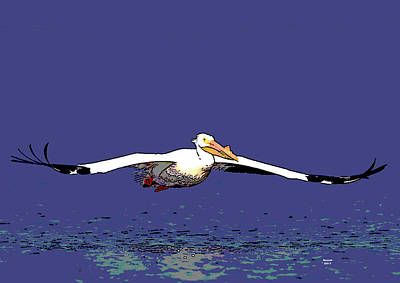 Mixed Media - American White Pelican by Charles Shoup