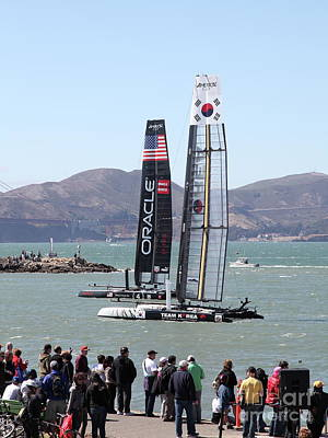 Photograph - America's Cup Racing Sailboats In The San Francisco Bay 5d18255 by San Francisco Art and Photography