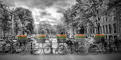 Oblong Photograph - Amsterdam Gentlemen's Canal Panoramic View by Melanie Viola