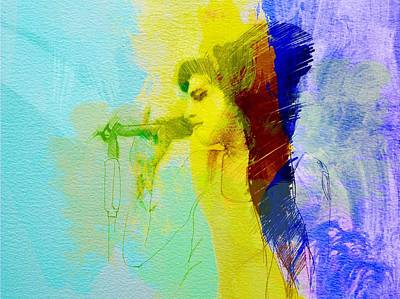 Watercolor Painting - Amy Winehouse by Naxart Studio