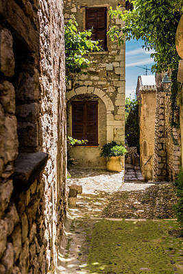 An Alley In Saint Paul De Vence, South Of France. Art Print by Maggie McCall