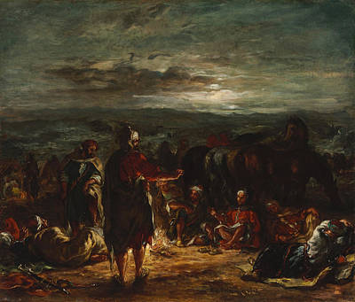 An Arab Camp At Night Print by Eugene Delacroix