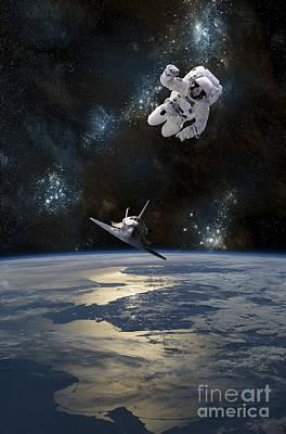 An Astronaut Drifting In Space Art Print by Marc Ward