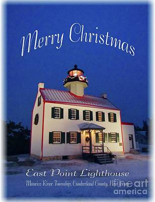 Photograph - An East Point  Lighthouse Merry Christmas  by Nancy Patterson
