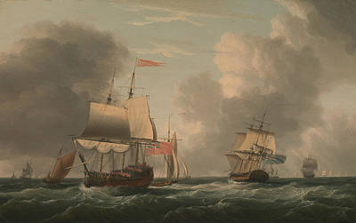 Painting - An English Two-decker Lying Hove To, With Other Ships And Vessels In A Fresh Breeze by Dominic Serres