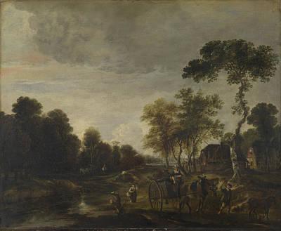 An Evening Landscape With A Horse And Cart By A Stream Art Print by Aert van der Neer