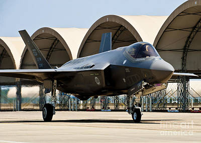 An F-35 Lightning II Taxiing At Eglin Print by Stocktrek Images