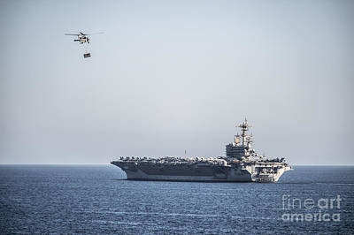 Aircraft Carrier Painting - An Mh-60s Sea Hawk Helicopter by Celestial Images