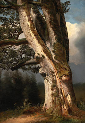 An Oaktree Trunk Painting - An Oaktree Trunk by Alexandre Calame