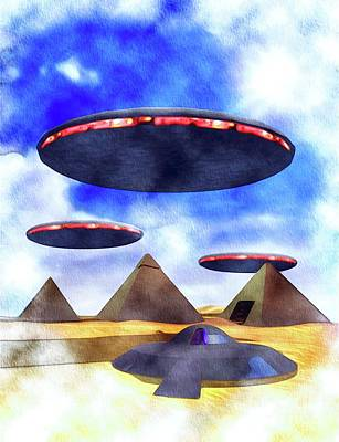 Science Fiction Paintings - Ancient Aliens and Ancient Egypt by Raphael Terra