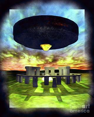 Science Fiction Paintings - Ancient Aliens - UFO at Stonehenge by Raphael Terra