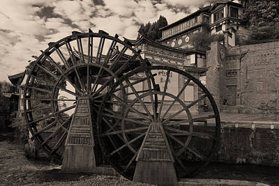 Photograph - Ancient Chinese Waterwheels by Michele Burgess