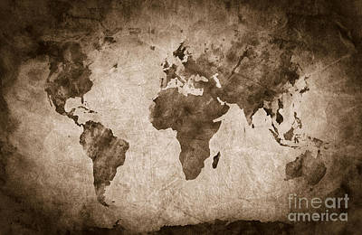 Vintage Map Photograph - Ancient Old World Map by Michal Bednarek