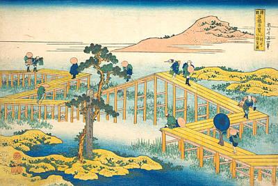 Orient Painting - Ancient View Of Yatsuhashi In Mikawa Province by Katsushika Hokusai