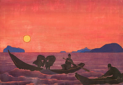 And We Continue Fishing Art Print by Nicholas Roerich