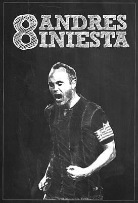 Messi Digital Art - Andres Iniesta by Semih Yurdabak