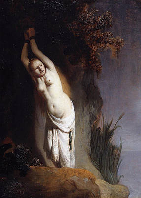 Mythological Painting - Andromeda Chained To The Rocks by Rembrandt van Rijn
