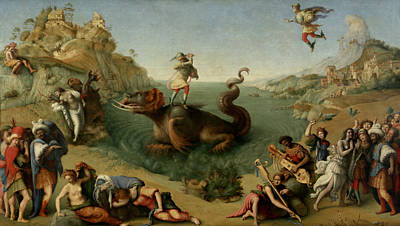 Free Painting - Andromeda Freed By Perseus by Piero di Cosimo