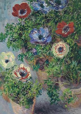 Monet Painting - Anemones In Pot by Claude Monet