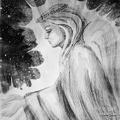 Painting - Angel Of Mercy 2 In Black And White by Leanne Seymour