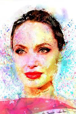 Angelina Jolie Art Print by Elena Kosvincheva