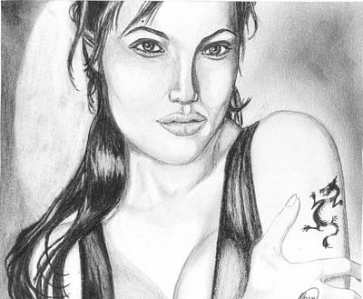 Fantasy Drawings - Angelina Jolie Portrait by Alban Dizdari