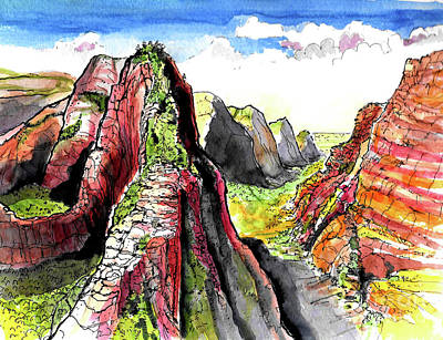 Painting - Angels Landing-zion by Terry Banderas