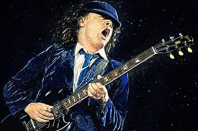 Angus Young Digital Art - Angus Young by Taylan Apukovska