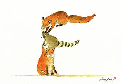Raccoon Painting - Animal Letter by Juan Bosco