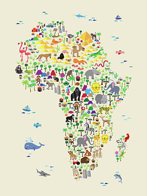 Cartoon Digital Art - Animal Map Of Africa For Children And Kids by Michael Tompsett