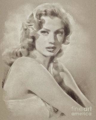 Musicians Drawings Rights Managed Images - Anita Ekberg, Hollywood Legend by John Springfield Royalty-Free Image by John Springfield