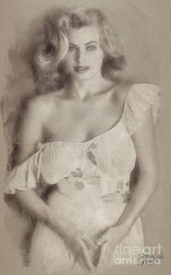 Musicians Drawings Rights Managed Images - Anita Ekberg, Vintage Hollywood Actress Royalty-Free Image by John Springfield