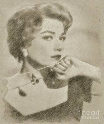 Star Trek Drawing - Anne Baxter Vintage Hollywood Actress by Frank Falcon