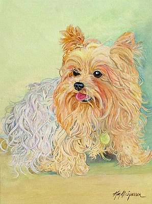 Yorkshire Terrier Puppy Painting - Annie's Yorkie by Kimberly McSparran