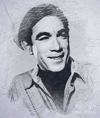 Musicians Drawings Rights Managed Images - Anthony Quinn, Vintage Actor Royalty-Free Image by John Springfield