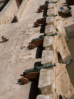 Antique Cannon Lined Up On The City Print by Panoramic Images