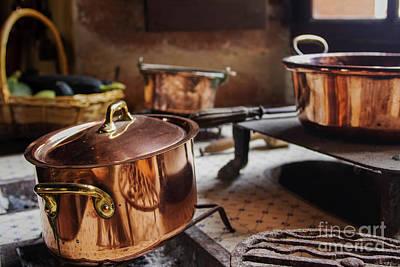 Photograph - Antique Copper Cooking Pans  by Patricia Hofmeester