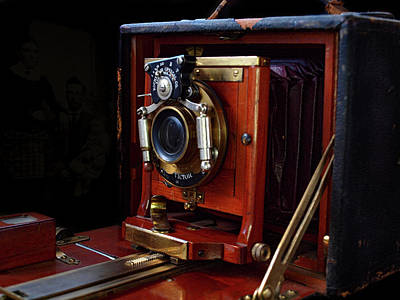 Photograph - Antique Folding Camera by Gary De Capua