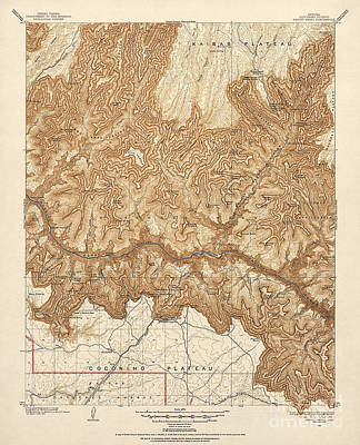 Antique Map Of The Grand Canyon Art Print