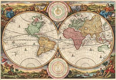 Old World Vintage Cartographic Maps Wall Art - Drawing - Antique Maps - Old Cartographic Maps - Antique Map Of The World, Double Hemisphere, Globe by Studio Grafiikka