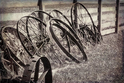 Antique Photograph - Antique Wagon Wheels I by Tom Mc Nemar
