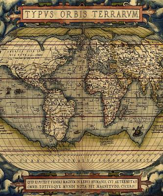 Mixed Media - Antique World Map Print From 1564 by Marianna Mills